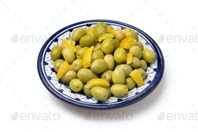 Dish with traditional Moroccan olives and lemon