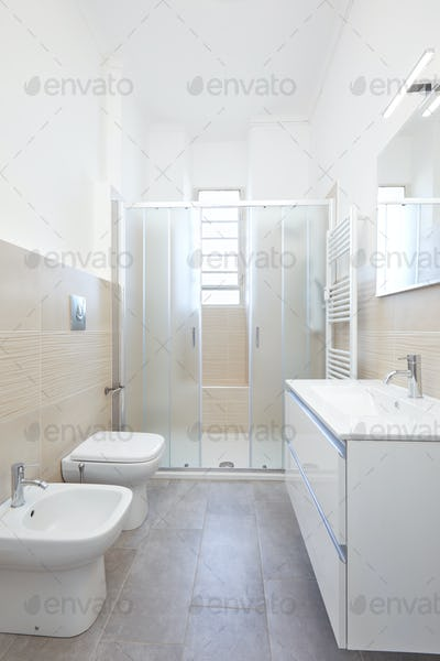 Modern bathroom interior in renovated apartment
