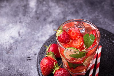 Summer fresh drink strawberry mojito
