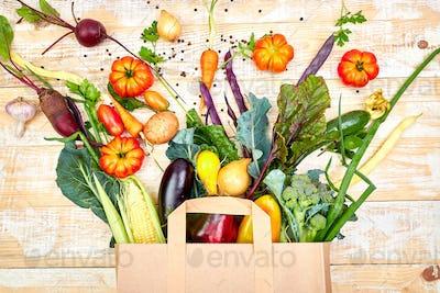 Paper bag of different health vegetables food