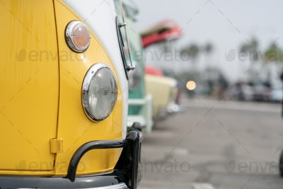 Close up of vintage yellow car bumber and lamps