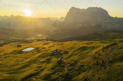 Beautiful morning on the Seiser Alm mountain landscape