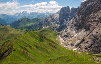 Hiking in the meadows of the Dolomites