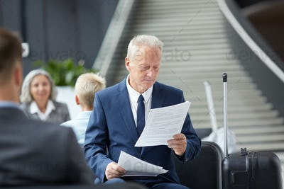 Reading documents in airport