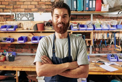 Smiling confident carpenter