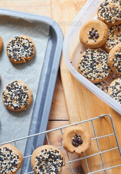 The homemade sesame seed cookies