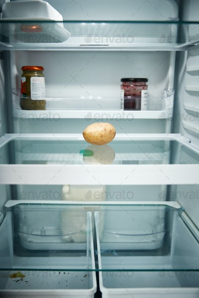 View Looking Inside Refrigerator Empty Except For Potato On Shelf