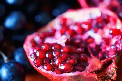 Close-up of ripe pomegranate fruit