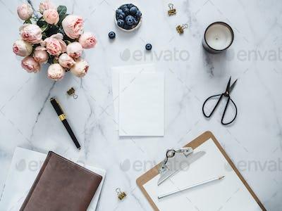 Flat lay with blank greeting card, wedding mock up