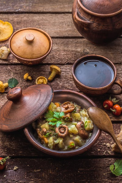 Potato with mushrooms stewed in a clay pot, russian cuisine, rustic style