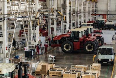 Assembly workshop at big industrial plant interior