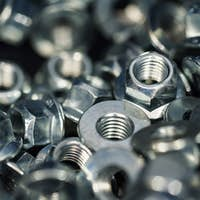 Many new steel stop nuts