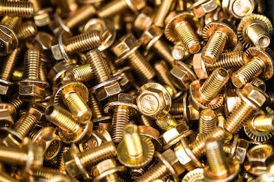 Close-up bronze bolts background