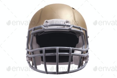 Modern gold football helmet front view isolated on white background