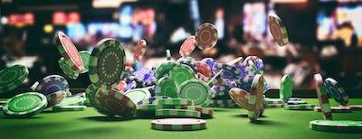 Poker chips falling on green felt roulette table, blur casino interior background. 3d illustration