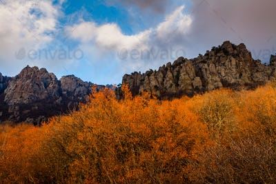 Autumn landscape sunset in the mountains Demerdzhi Crimea