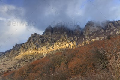 Autumn landscape in a mountain. Crimea, Demerdzhi
