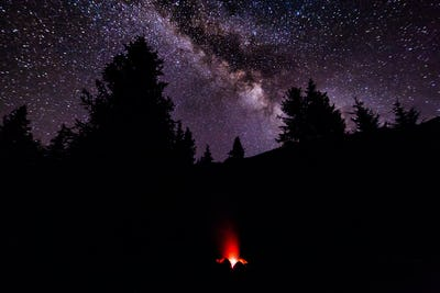 A fire in the camp in the forest under a starry sky. Milky Way