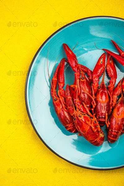 Serving Colorful Red Crayfish or Lobster, Top View,Vibrant Moder