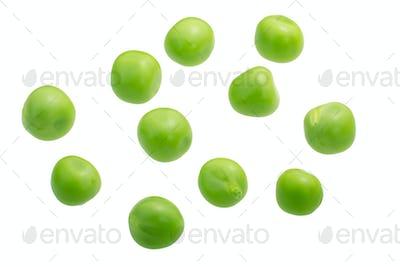 Pea seeds p. sativum, paths, top