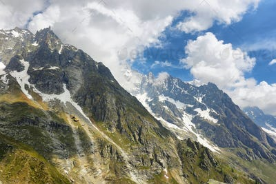 Alps mountain range view from Punta Helbronner Skyway, Aosta Valley, Italy
