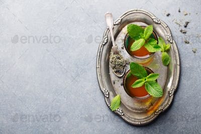 Mint, Green Tea Moroccan Traditional Drink. Copy space. Top view