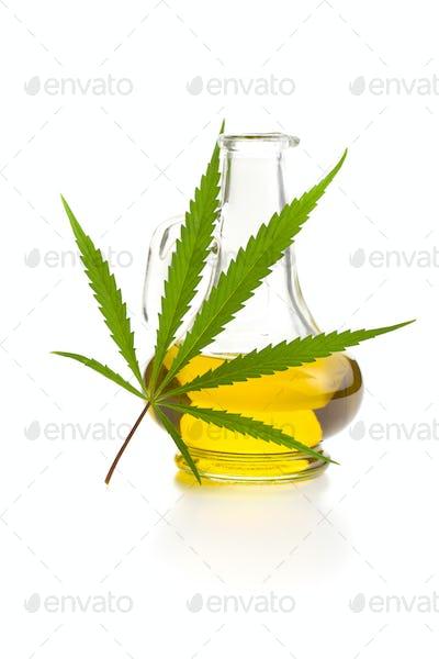 Marijuana cannabis leaves and oil.