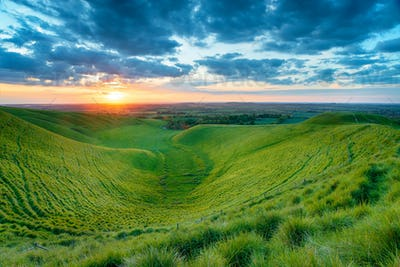 Sunset at Dragon Hill in Oxfordshire