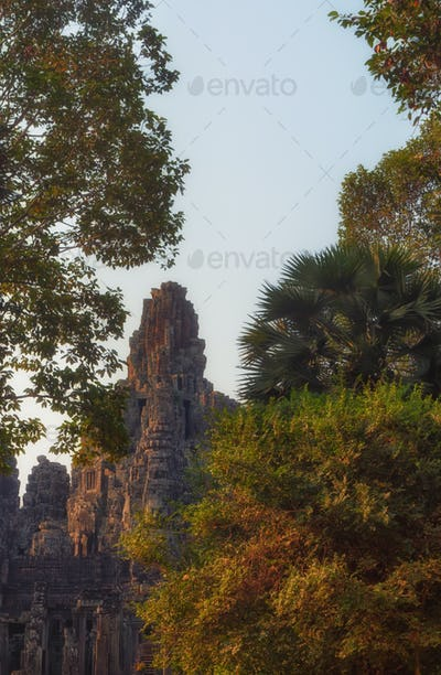 Bayon famous jungle temple in Cambodia