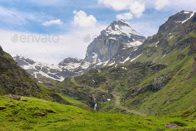 Beautiful valley with Granta Parey Peak at background, Val d'Aosta, Italy