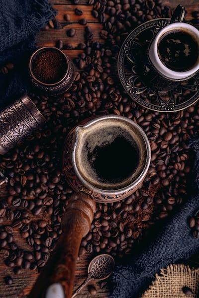 Turkish coffee in a copper Turks