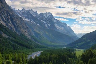 Viewmountain range from Notre-Dame de Guérison Sanctuary, Aosta valley, Italy