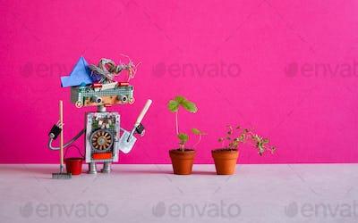 Surprised robot gardener breeder agronomist holding a shovel and rake.