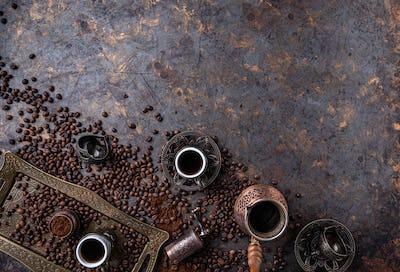 Flat lay of Turkish coffee