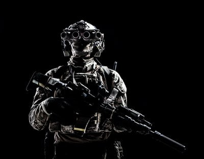 Army special forces shooter low key studio shoot