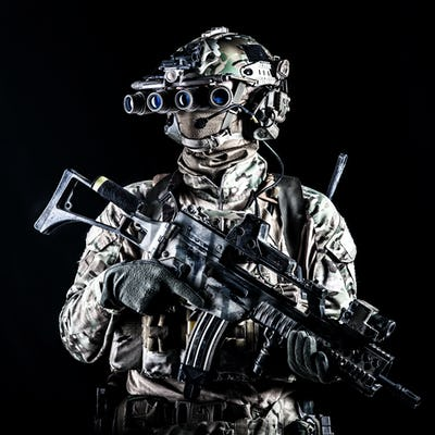 Marine rider with rifle and night vision goggles