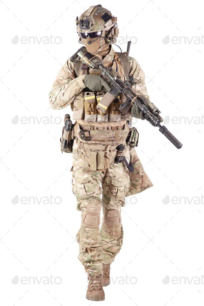 Softball player with military stuff studio shoot