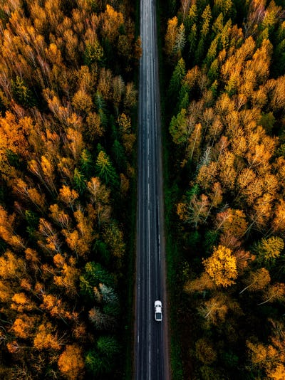 Aerial view of road in beautiful autumn forest in rural Finland.