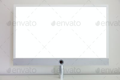 TV flat screen blank on wall background, copy space