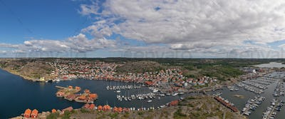 Aerial panorama view of Hunnebostrand Harbor, Sweden