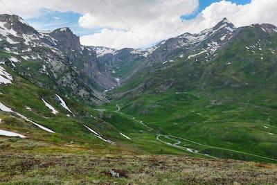Amazing view of Scenic Alps near Little St Bernard Pass, Italy