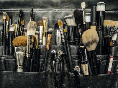 Bag of makeup brushes and apllicators