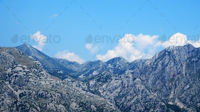 Panoramic view of mountains and blue sky