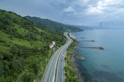 Beautiful Coastal Road With Overlooking The Sea.Aerial View