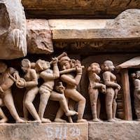 Close up genre stone carving in Lakshman Temple