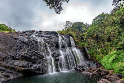 Scenic tropical waterfall in Sri Lanka