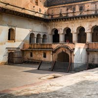 View of Jahangir Mahal or Raja Palace inside Orchha Fort Complex