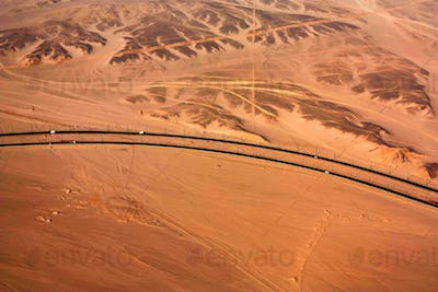 Aerial view of desert and roads of Egypt