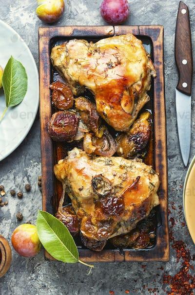 Roast chicken with plum
