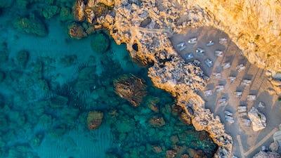 Beautiful Beach at Blue Mediterranean Sea in Greece, Aerial Top